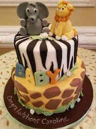 Neutral 53 Jungle Animals Baby Shower Cake