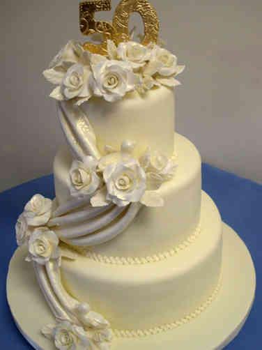 Anniversary 10 Fabric Draped 50th Anniversary Cake