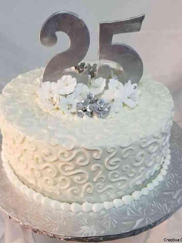 Anniversary 02 Simply Silver Swirles 25th Anniversary Cake