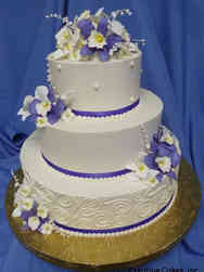 Floral 34 Purple Orchids and Piped Designs Wedding Cake