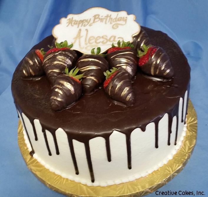 Food 01 Chocolate Covered Strawberry Drip Birthday Cake