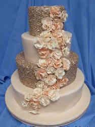 Trendy 16 Rose Gold Sequins Wedding Cake