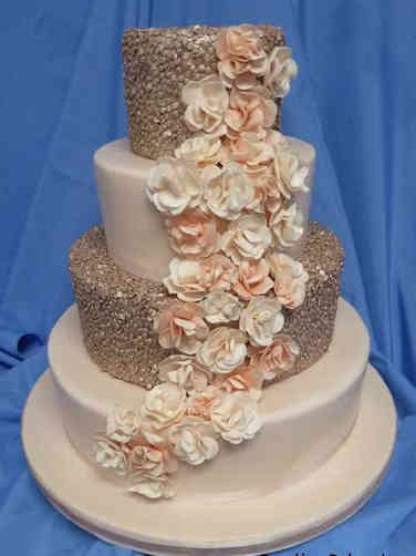 Trendy 16 Rose Gold Sequins Wedding Cake