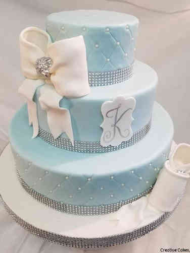Elegant 09 Bows and Monogram Wedding Cake