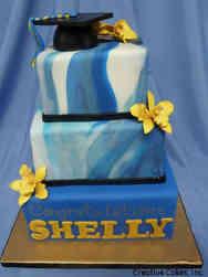 High School 27 Marbled Blue High School Graduation Cake