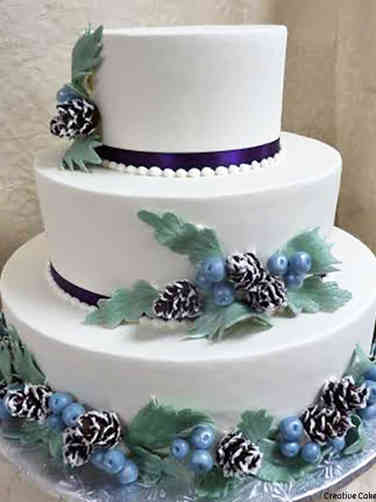 Colorful 16 Winter Greenery Wedding Cake