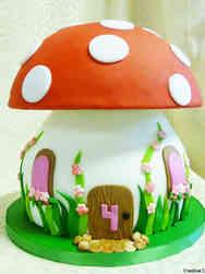 Unique 02 Mushroom Fairy Tale Birthday Cake