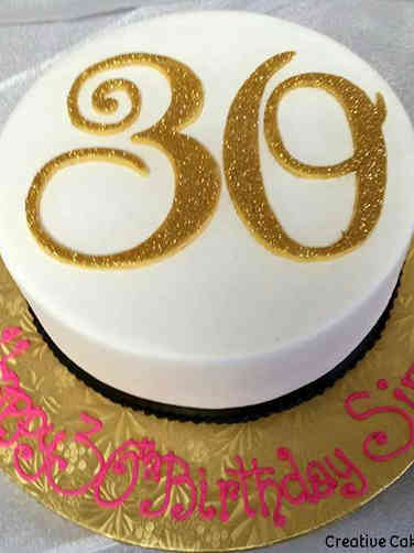Numbers 03 Gold Sparkly 30th Birthday Cake