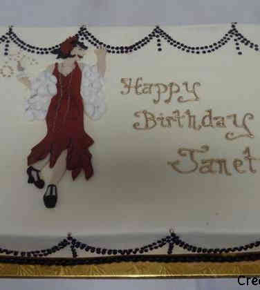Feminine 39 Flapper Birthday Cake