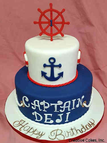 Boys 03 Ship Captain First Birthday Cake