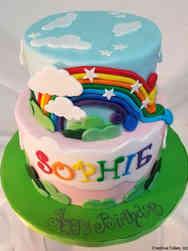 Princesses 14 Rainbow Landscape Birthday Cake