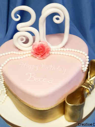 Feminine 04 Pink and Gold Heart Birthday Cake