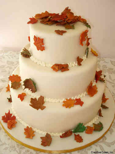 Colorful 20 Autumn Leaves Wedding Cake