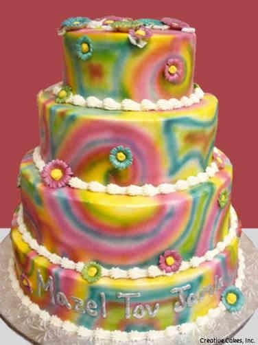 Mitzvah 11 Tie Dye Swirls and Daisies Bat Mitzvah Cake