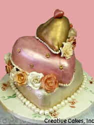 Anniversary 07 Stacked Sculpted Hearts Anniversary Cake