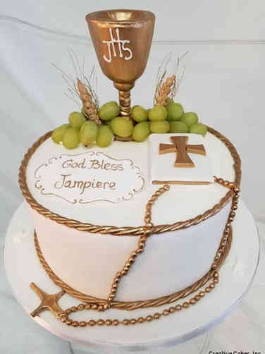 Communion 03 Grapes, Wheat, and Chalice First Communion Cake