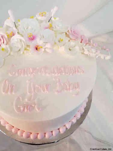 Girls 32 Pink Flowers Baby Shower Cake
