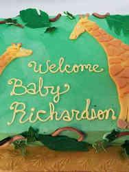 Neutral 15 Mom and Baby Giraffes Baby Shower Cake