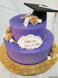 College 09 Purple and Gold College Graduation Cake
