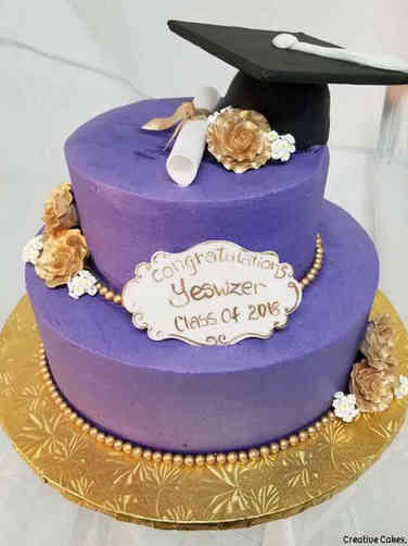 College 09 Purple and Gold College Graduation Cake