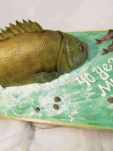 Hobbies 50 Gone Fishing Birthday Cake