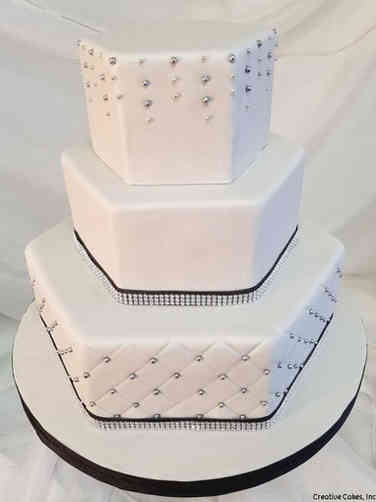 Elegant 30 Silver and Black Hexagonal Wedding Cake