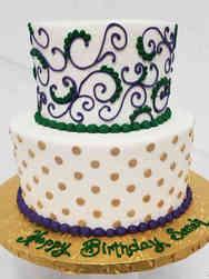 Feminine 10  New Orleans Piped Birthday Cake