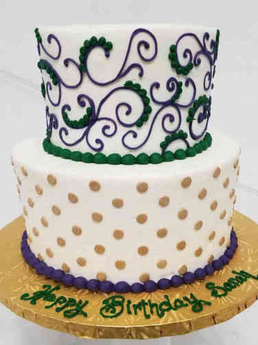 Feminine 10  New Orleans Piped Birthday Cake