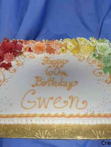Floral 26 Colorful Gradient Birthday Cake