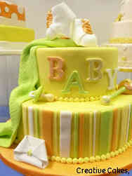 Neutral 26 Classic Stripes Baby Shower Cake