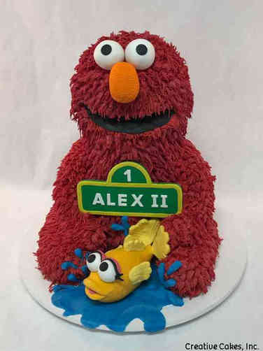 Neutral 35 3D Elmo FIrst Birthday Cake