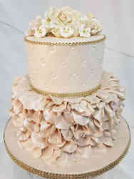 Floral 16 Taupe Ruffles Birthday Cake