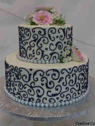 Floral 12 Elegant Pink and Navy Wedding Shower Cake