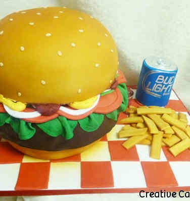 Food 14 Hamburger Meal Birthday Cake