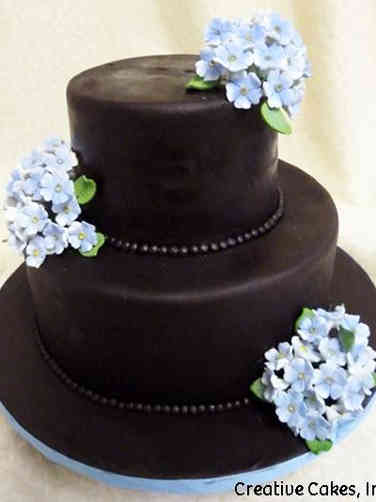 Colorful 03 Black and Blue Hydrangeas Wedding Cake