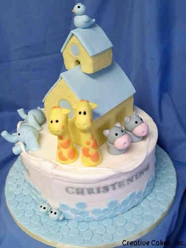 Baptism 02 Adorable Noah's Ark Baptism Cake