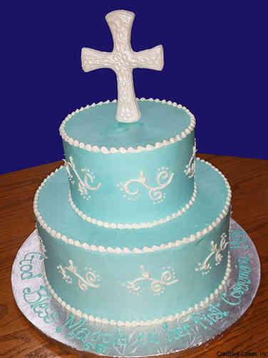 Baptism 01 Elegant Tiered Baptism Cake