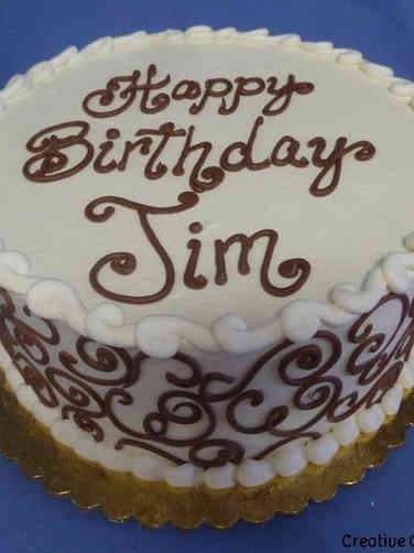 Other 18 Brown Scrolls Birthday Cake