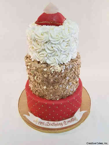 Feminine 55 Red, Gold, and Diamond Birthday Cake