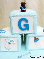 Boys 18 3D Baby Blocks Baby Shower Cake