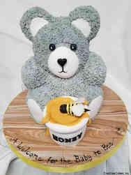 Neutral 12 Carved Bear Baby Shower Cake