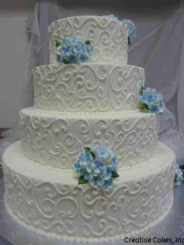 Simple 17 Hydrangeas and Swirls Wedding Cake