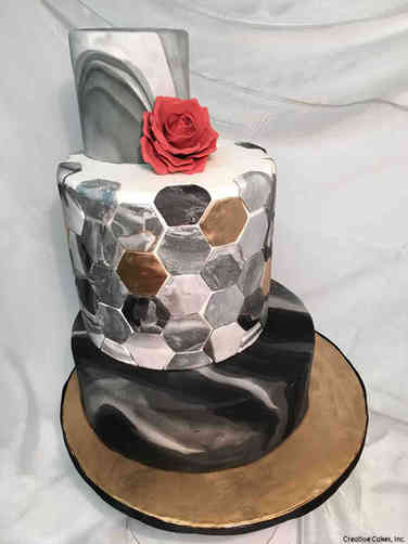Trendy 23 Tiled Marble Wedding Cake