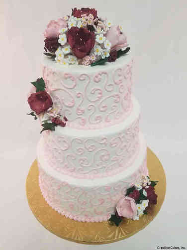 Simple 25 Pink Swirls Wedding Cake