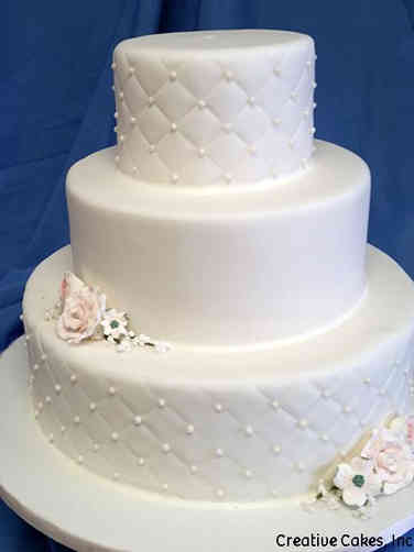 Elegant 05 White Quilted Wedding Cake