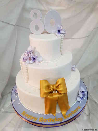 Numbers 34 Pretty Purple and Gold 80th Birthday Cake