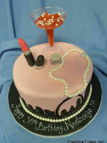 Feminine 36 Night on the Town Birthday Cake