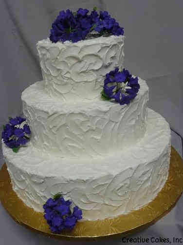 Simple 16 Textured Hydrangea Wedding Cake