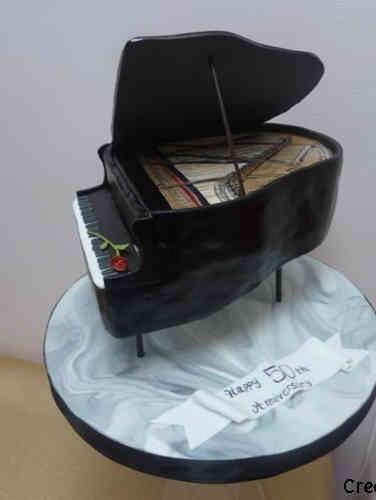 Anniversary 05 3D Grand Piano 50th Anniversary Cake