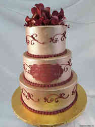 Floral 14 Gold and Red Bridal Shower Cake